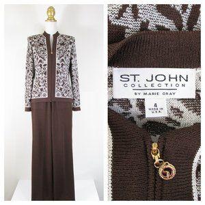 St. John Collection Sport Brown Floral Pant Suit S